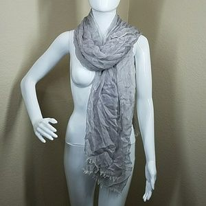 Gray sheer silk and motal scarf